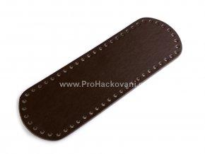 Koženkové dno na kabelku 12 x 36 cm tmavě hnědé
