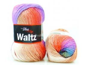 příze Waltz 5712 fialová, modrá, korálová a krémová