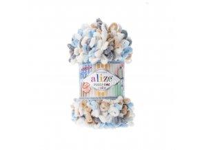 Puffy fine color 5946 bílá, modrá, šedá, hnědá
