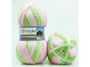 příze Everest Daylight 6044 zelená, růžová, bílá