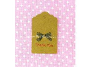 Papírová cedulka Thank you hnědá 5x3 cm 5 ks
