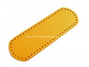 Koženkové dno na kabelku 10 x 30 cm hořčicově žluté