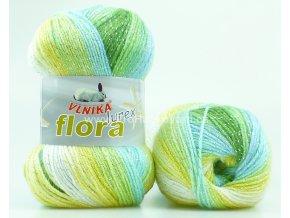 příze Flora lurex 17 zelená, tyrkys, okrová