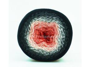 příze Flowers 260 červená, růžová, šedá, černá