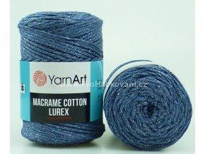 Macrame Cotton Lurex 730 jeans se stříbrnou nitkou