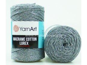 Macrame Cotton Lurex 737 šedá se stříbrnou nitkou