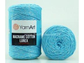 Macrame Cotton Lurex 733 tyrkysová se stříbrnou nitkou