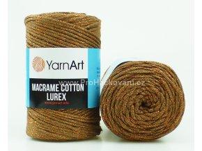 Macrame Cotton Lurex 742 hnědá s měděnou nitkou