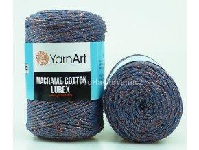 Macrame Cotton Lurex 731 šedomodrá s měděnou nitkou
