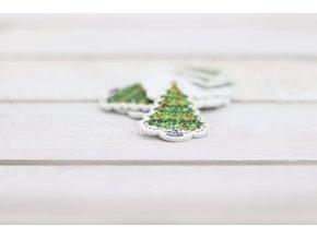 Dřevěný knoflík Vánoční stromek- 35x26