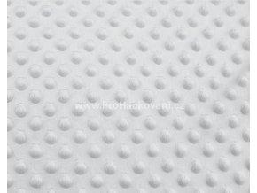 Látka Minky s 3D puntíky světle šedá