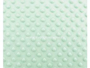 Látka Minky s 3D puntíky mentolově zelená