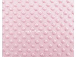 Látka Minky s 3D puntíky růžová