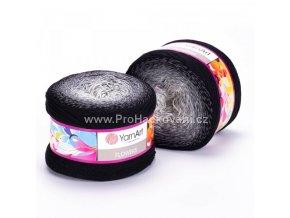 příze Flowers 253 bílá, šedá, černá