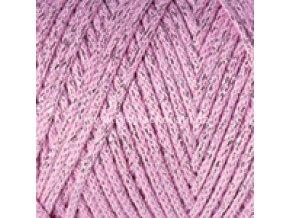 Macrame Cotton Lurex 732 růžová se stříbrnou nitkou