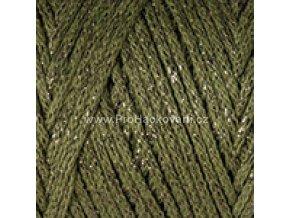 Macrame Cotton Lurex 741 zelená se zlatou nitkou