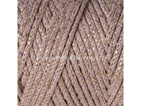 Macrame Cotton Lurex 735 béžová se zlatou nitkou