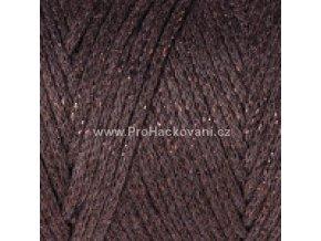 Macrame Cotton Lurex 736 hnědá s měděnou nitkou