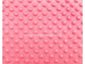 Látka Minky s 3D puntíky korálová