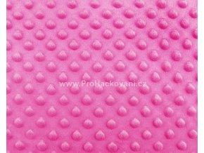 Látka Minky s 3D puntíky růžová fuchsiová