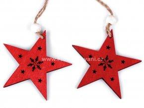 Dekorace, dřevěná hvězda Ø 7cm červená