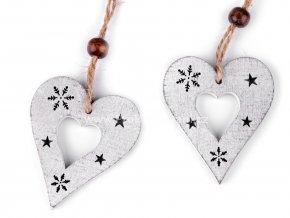 Dekorace, dřevěné srdce  5 x 6 cm bílé