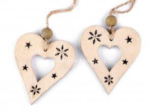 Dekorace, dřevěné srdce  5 x 6 cm přírodní