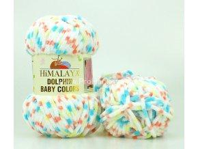 příze Dolphin Baby Colors 80415 bílá, tyrkysová, lososová, žlutá