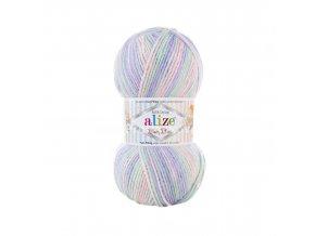 příze Baby Best Batik 7258 fialková, růžová, zelenkavá