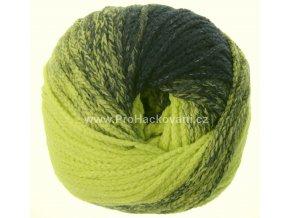 příze Mary Color 88277 ostrá zelená a modrá melange