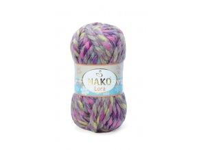příze Lora 28075 šedá s fialovou a růžovou