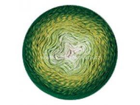 příze Flowers 283 variace zelené a krémová