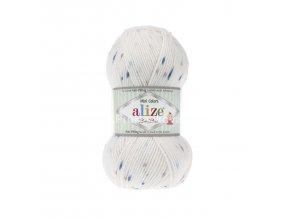příze Baby Best Mini Colors 6842 Bílá s modrým a hnědým žíháním