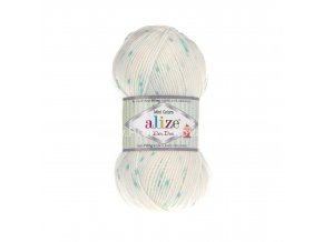 příze Baby Best Mini Colors 7061 smetanová s tyrkysově zeleným žíháním