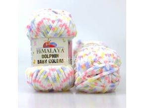 příze Dolphin Baby Colors 80417 bílá, modrá, žlutá, růžová
