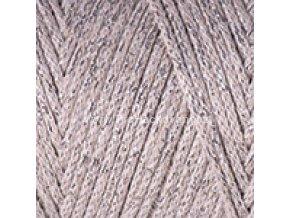 Macrame Cotton Lurex 725 béžová se stříbrnou nitkou