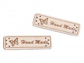 Hand Made, koženková cedulka Motýl béžový