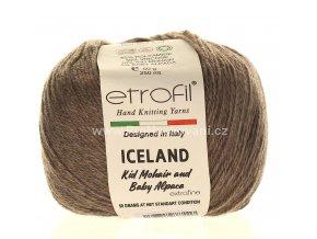 příze Iceland 6095 šedohnědý melír