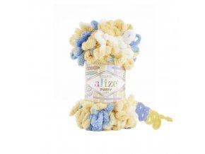 příze Puffy color 6069 pastelově žlutá, modrá, bílá