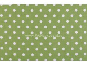 Bavlněná látka s většími puntíky Ø 8 mm zelená