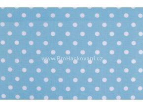 Bavlněná látka s většími puntíky Ø 8 mm světle modrá