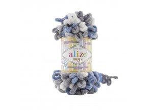 příze Puffy color 6075 tmavě šedá, modrošedá a bílá