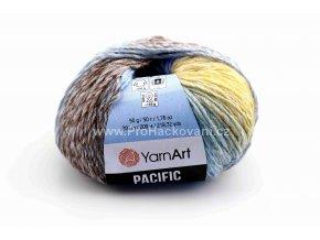příze Pacific 309  žlutá, modrá a hnědá