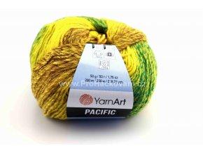 příze Pacific 305 žlutá, hořčicová, hnědá, zelená