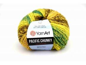 příze Pacific Chunky 305 žlutá, hořčicová, hnědá, zelená