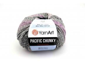 příze Pacific Chunky 303 šedý melír s růžově fialovou