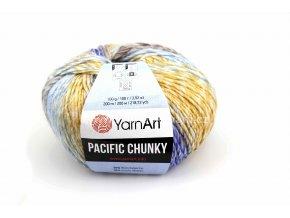 příze Pacific Chunky 309 žlutá, modrá, hnědá