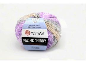 příze Pacific Chunky 308 fialková, šedá, krémová