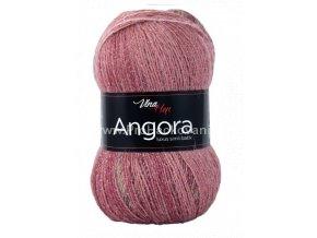 příze Angora Luxus Simli Batik 5722 starorůžová a hnědá