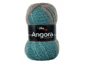 příze Angora Luxus Simli Batik 5728 tyrkys petrolová, šedá